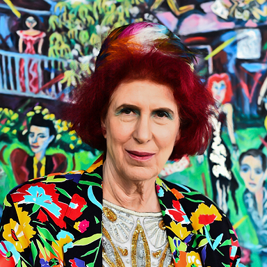 Photo of artist Barbara Romain. Barbara is seated in front of one of her paintings and looking forward. and wearing a brightly colored jacket with floral patterns. Her hair is bright red and wearing a colorful feathered hat.